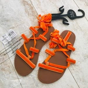 Topshop Shoes - Brand new TopShop orange velvet Hacienda Sandal